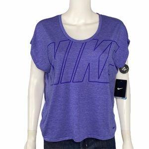Nike NEW Purple Logo Short Sleeve Top Size M